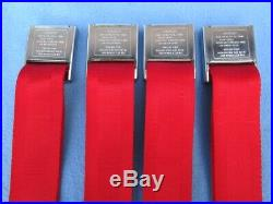 1966-67 Pontiac GTO, Chevelle, Olds 442 Deluxe GM Carriage Logo Seat Belts Red