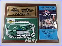 2000 Formula One SAP United States Grand Prix IMS Map Ticket Plaque