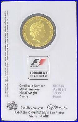 2016 ABU DHABI GRAND PRIX 1/4 oz Proof Gold Coin. 9999 Fine Pamp Suisse (BU)