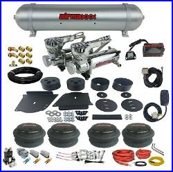 64-72 Chevelle Air Ride Suspension Kit Manifold 580 Chrome Compressors Spun Tank