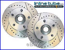 64-74 Front Disc Brake Single Piston Caliper Cross Drilled & Slotted Rotors 2pc