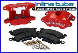 64-74 GM AFX RED Body Disc Brake Dual Piston Calipers Conversion Loaded WILWOOD