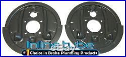 64-74 GM Rear Axle Drum Brake Factory Backing Plates with Splash Shield Pair NOS