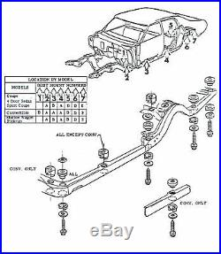 71-72 Chevelle SS LS6 Convertible Factory Body Mounts Bushings Cushions & Bolts