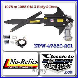 78-88 G Body Regulator & Motor Power Window Kit with 2 GM Style Switches & Harness