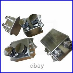 Aluminum Engine Oil Blow By Evacuation Tank Catch Can with Breathers & Fittings