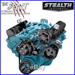 Black Pontiac Serpentine Pulley Kit Power Steering 350 400 428 455 V8 GTO