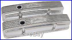 Edelbrock 4144 Valve Covers Classic Polished Aluminum Small Block Chevy