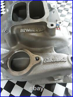 Edelbrock 7525 SBC Chevy 2x4 RPM Air Gap Aluminum Intake Manifold HOT RAT ROD