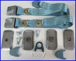 Light Blue Non Retractable Lap Seat Belt Deluxe Kit For 2 Person/Position, 60