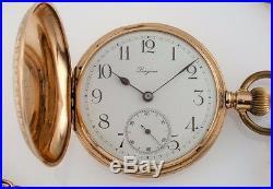 Longines Grand Prix 14k Yellow Gold Full Hunter Pocket Watch Size 13S