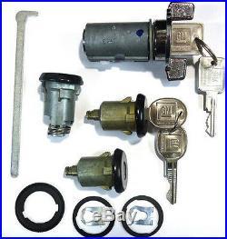 New GM OEM Chrome/Black Ignition/Doors/Trunk Lock Key Cylinder Set With2 Logo Keys