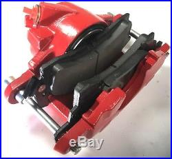 New Pair (2) Single Piston Calipers Loaded with Pads for GM (Powdercoated Red)