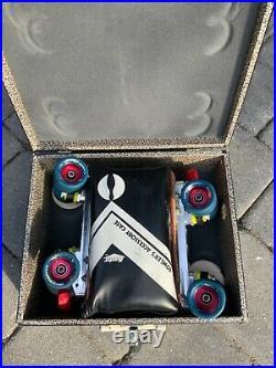 RIEDELL GRAND PRIX SPEED ROLLER SKATES Sz 8 POWER TRAC PLATE ROLLERBONES CASE