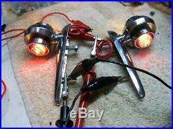 Rare Vintage Custom Chrome Turn Signal Indicators NICE! Cruiser Sled Rat Rod
