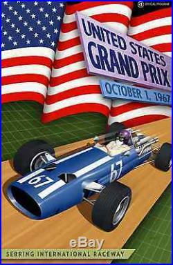 United States Grand Prix c. 1967 Sebring 24x36 Canvas Racing Poster