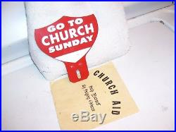Vintage 40s nos Go To Church Sunday license plate topper gm ford chevy rat rod