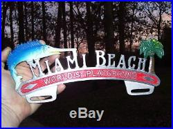 Vintage 50s nos MIAMI Beach Florida vacation promo License plate topper auto gm