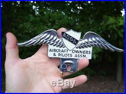 Vintage 50s nos Pilot Aircraft owner License plate topper gm ford chevy rat rod