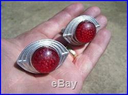 Vintage Plate reflectors nos HARLEY KNUCKLEHEAD FLATHEAD PANHEAD BOBBER HOT ROD