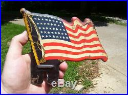 Vintage Plate topper US flag HARLEY KNUCKLEHEAD FLATHEAD PANHEAD BOBBER HOT ROD