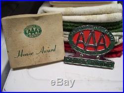 Vintage nos 50s chrome AAA award auto emblem badge gm ford chevy rat rod pontiac