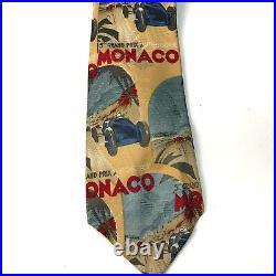 Vtg Rare Polo Ralph Lauren Monaco Grand Prix Car Race Tie Made In USA